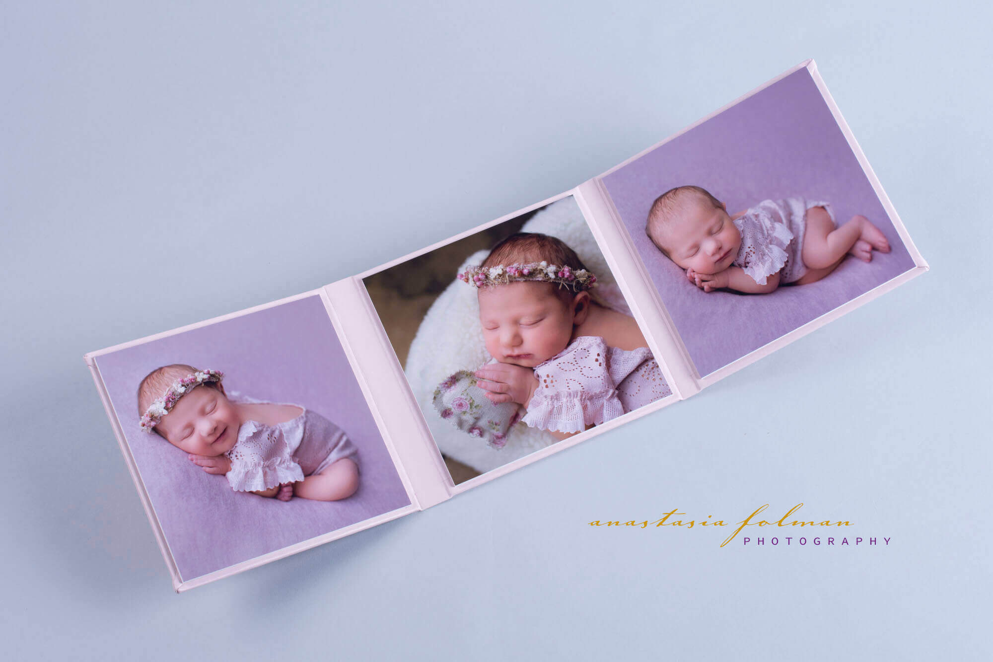 Triplex in J47 baby pink matte leatherette newborn photography nphoto professional photo product 15x15cm