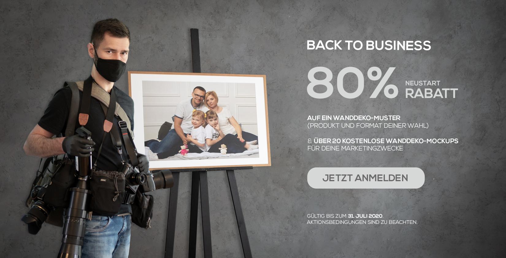 Zurück ins Foto-Business mit 80% RABATT auf Wanddeko-Muster