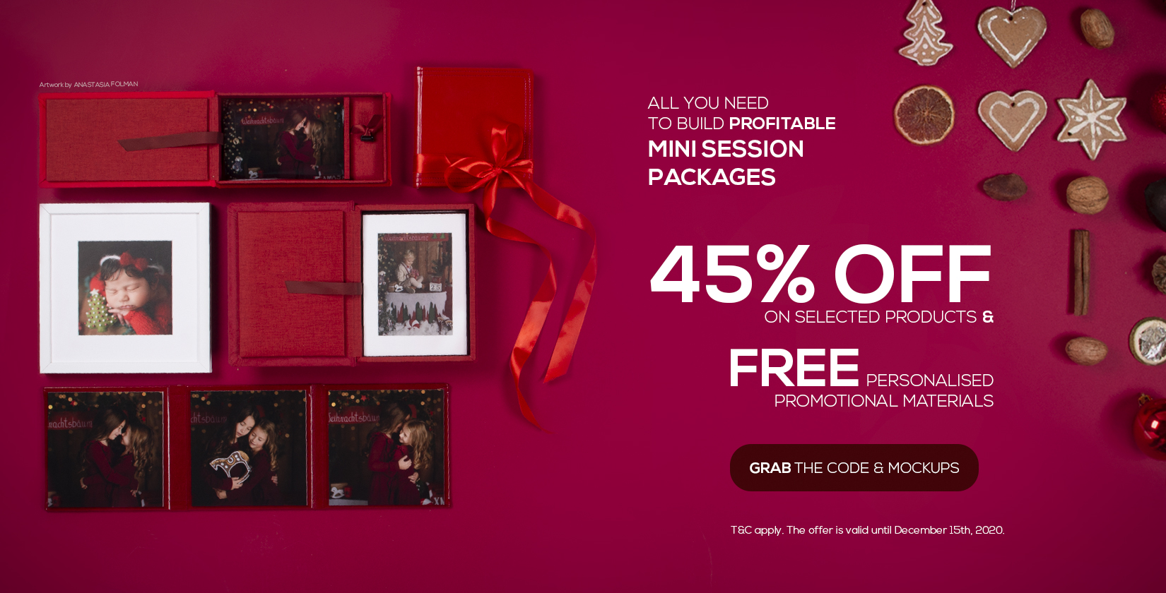 45% off best mini-session products and free promotional materials for you