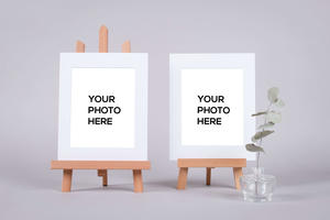 Matted Prints (mockup) on Tabletop Display Easel Stand (New)