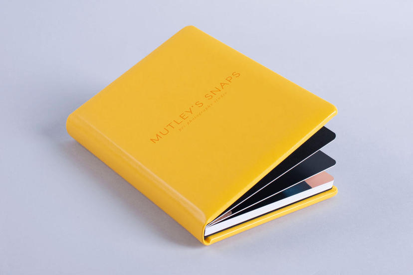 Exclusive UV printed logo on the cover photo album yellow material nphoto printing lab for professional photographers pet photography studio