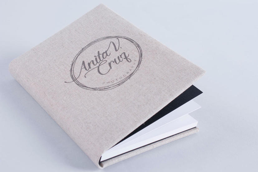 Exclusive custom text logo on the cover photo album gray grey nphoto printing lab for professional photographers