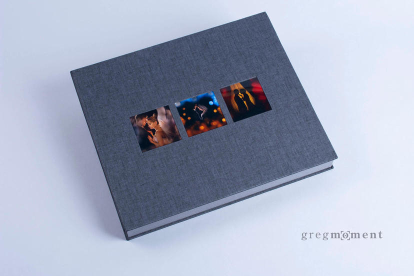 Exclusive lay flat album box with three 3 image on the cover nphoto printing lab for professional photographers wedding photographer custom
