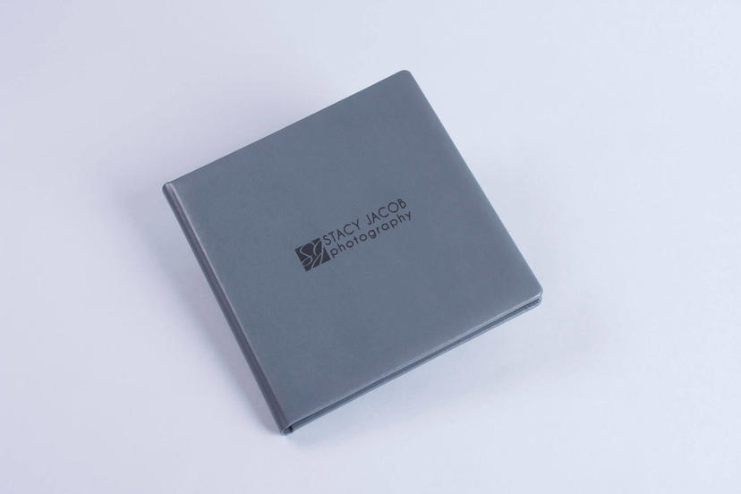 Exclusive lay flat photo album with custom logo on the cover nphoto printing lab for professional photographer gray grey material