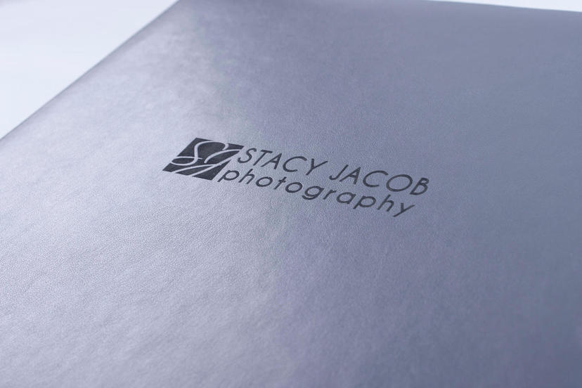 Exclusive lay flat photo album with custom logo on the cover nphoto printing lab for professional photographers gray grey material