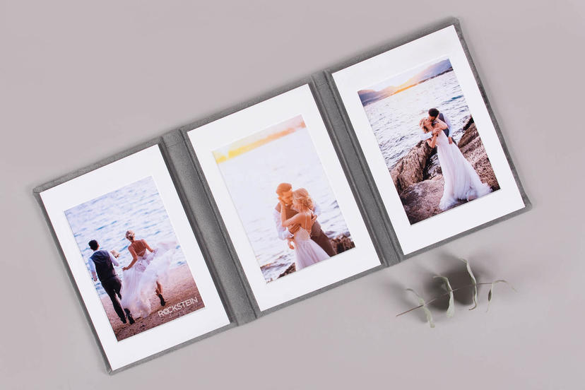 Triplex trifold 3 piece image product wedding centerpiece printed tri-fold nphoto upselling products for wedding photographers silver grey velvet textile passepartout