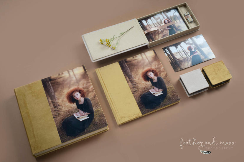 royal materials premium quality velvet textiles photo albums professional photographer printing lab yellow mustard colour cover