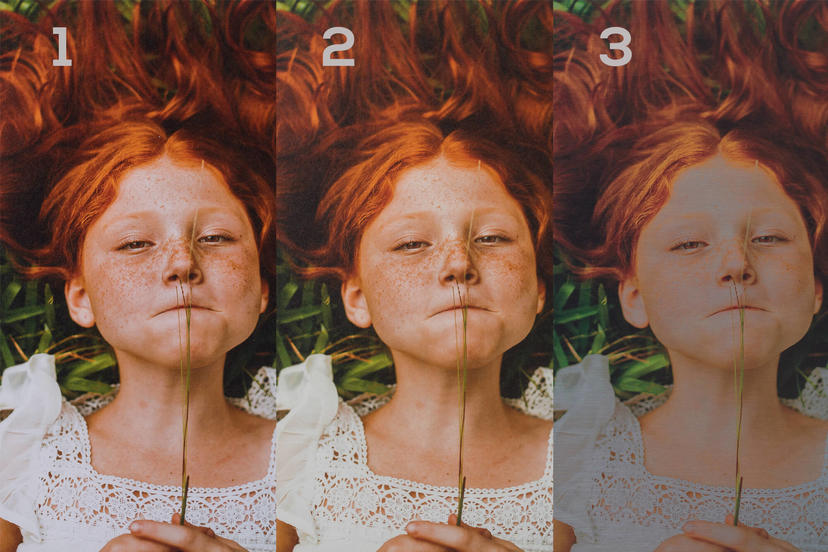comparison, paper types, arctic matte, mohawk, dibond, red haired girl