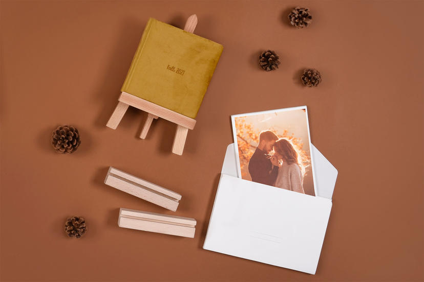 Small Photo Album Exclusive and Fine Art Prints with Wooden Photo Holders